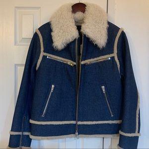 Rag & bone,denim jacket with fully lined shearling